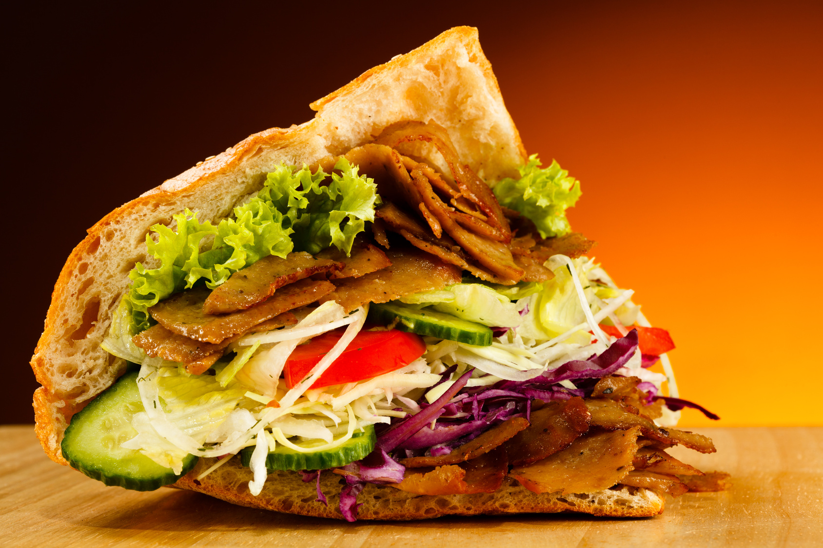 Kebab - grilled meat, bread and vegetables